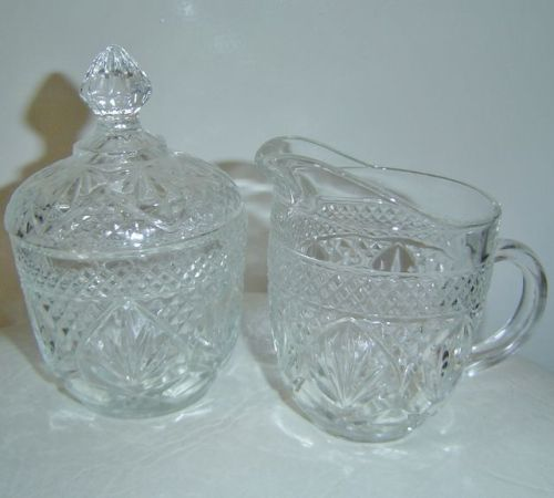 Glass Creamer and Sugar Bowl