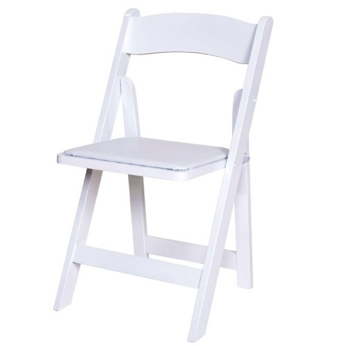 Wood Chair with Padded Seat - White